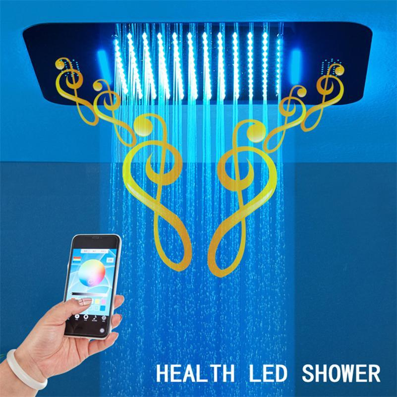 Bluetooth Music LED Light Shower Head Rainfall Shower Heads Bathroom 304 SUS Waterfall Shower Heads LED Ceiling Mounted Concealed Showers