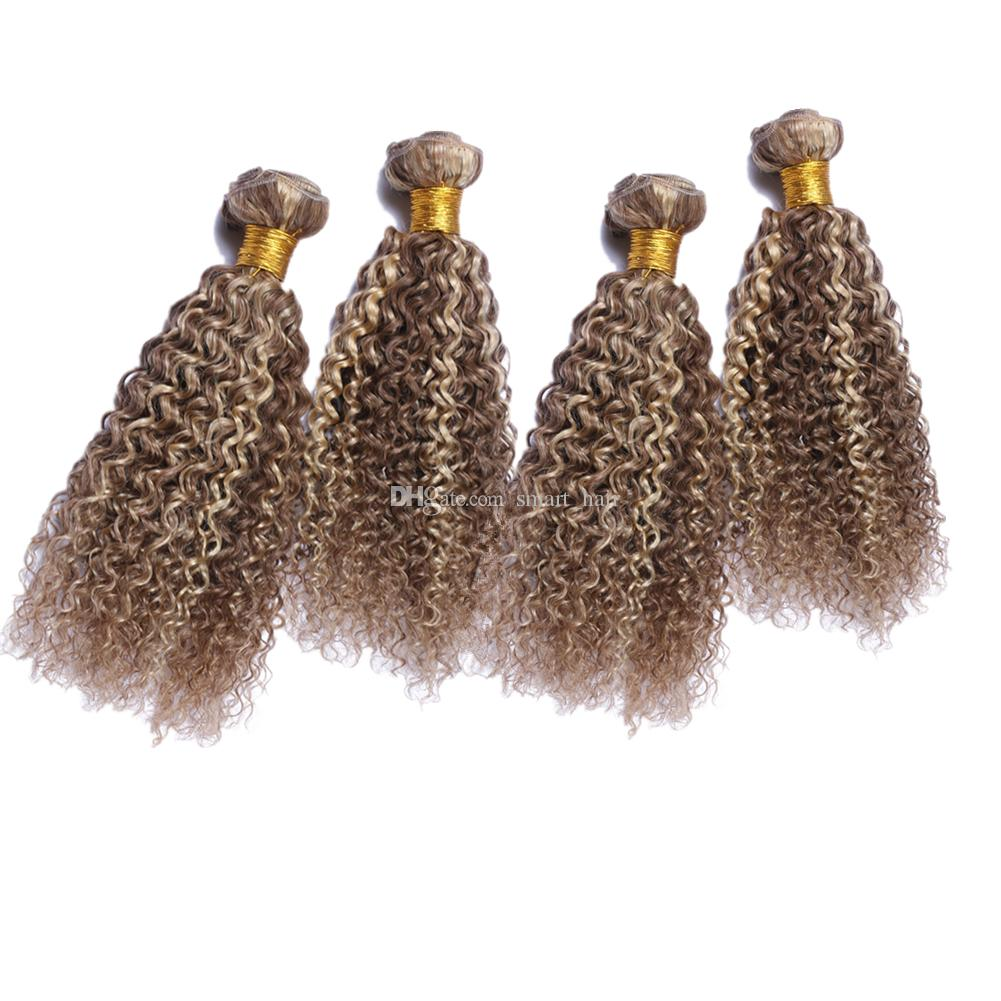 Double Wefted #8 #613 Mix Piano Color Human Hair Bundles 4Pcs Light Brown Bleach Blonde Virgin Kinky Curly Hair Weft Extensions 10-30 inch