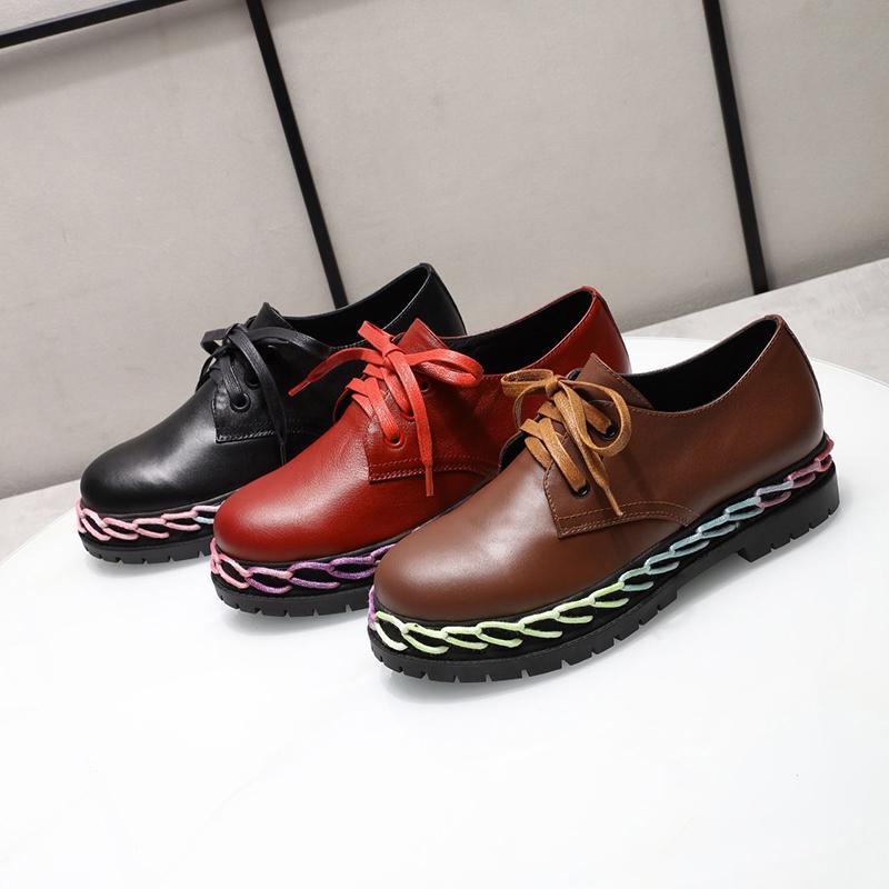 Britannique Style de petites chaussures en cuir Femme 19 ans Automne et Hiver Nouveau mode sauvage épais Bas accrue Souliers simple de dentelle en cuir
