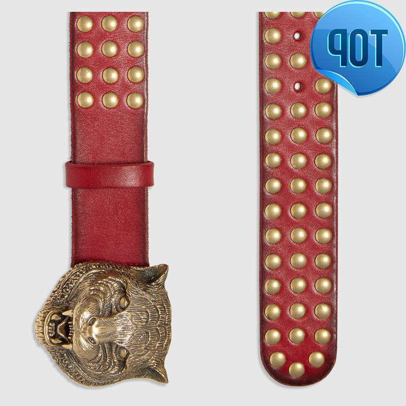 2019 2019 2019 Studded leather belt with feline head Style 451224 Blooms belt snake bee dragon tiger head feline buckle Official Men Belt