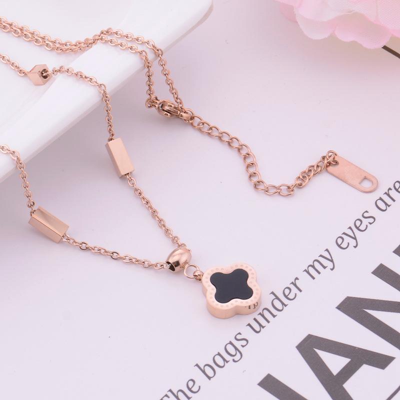 Мода Роскошные Ювелирные Изделия Дизайнер Ожерелье Для Женщин Титановый Сталь Клевер Подвеска Ожерелье для Девочек Партия Подарок