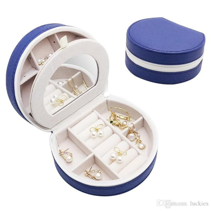 Portable Jewelry Box Organizer PU Leather Jewelry Case with Mirror for Rings Earrings Necklace Travel Gifts Boxes