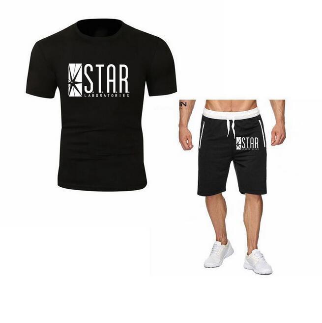 2PCS Mode Hommes drôle Drame flash Sweat-shirt Règle de T-shirt + short coton Labs Hommes Star T-shirt SHORTS