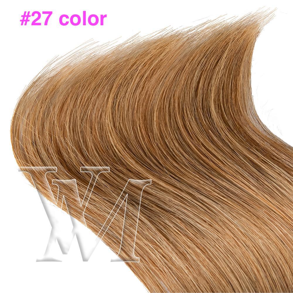 VMAE # 613 100٪ البرازيلي الأوروبي الإنسان شعر حريري مستقيم شقراء الشعر العذراء 180G كليب ملحقات الشعر الفتيات في التمديدات