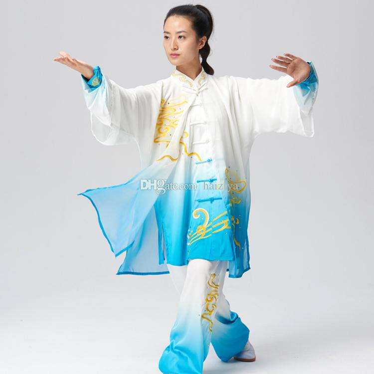 Chinese Tai chi clothes Kungfu uniform Taiji boxing garment outfit Clouds embroidery kimono for women men girl boy children adults kids
