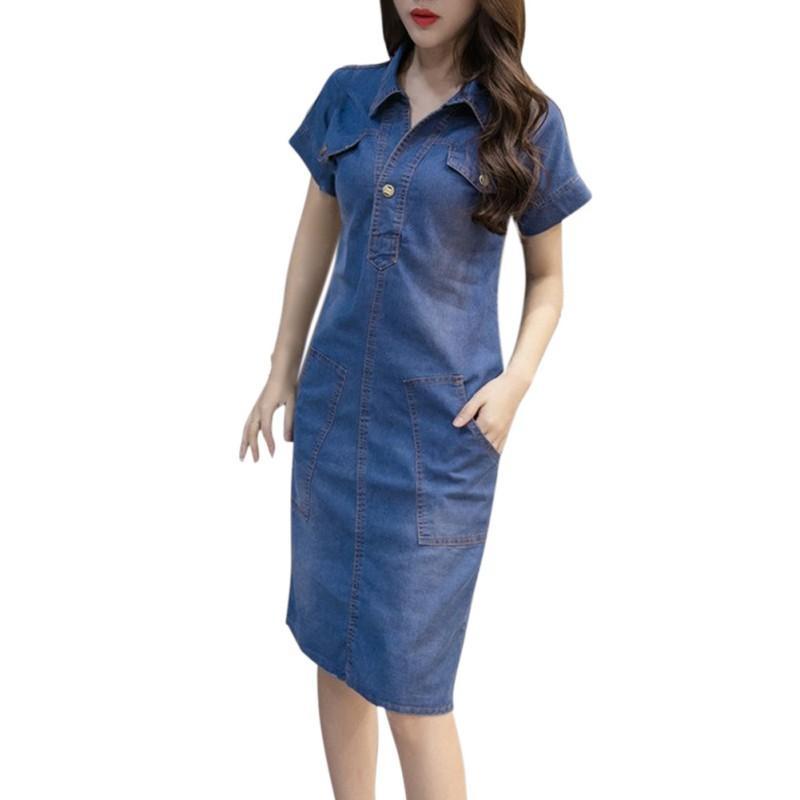 Neue 2018 Sommer-Frauen-Jeans-Kleid-Qualitäts-Denim-Kleid-Frauen-Kleidung 3XL eleganter beiläufiger Cowboy Vestidos Jeans
