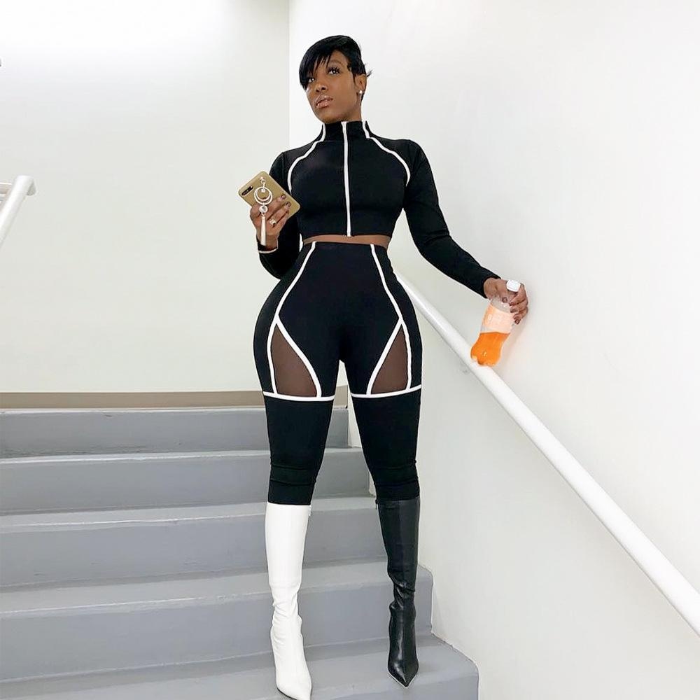 Mesh Patchwork Striped Print Women Set Casual Long Sleeve O Neck Crop Top With Pencil Pants Tracksuit Bodycon Sport Suit Female