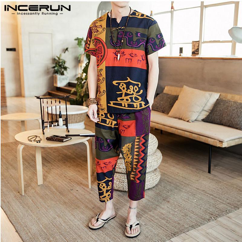 Mode T-Tops Hosen Strand-Ferien-ethnische Art-Hosen-T-Shirts Männer-Sets Hawaiian Unisex Damen Hombre INCERUN Männer 5XL Sets