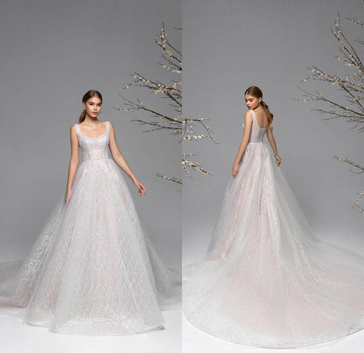 2021 Fashion Brautkleider quadratischen Ausschnitt Backless Brautkleider nach Maß Spitzeapplique-Pailletten-Schleife-Zug A-Line Brautkleid