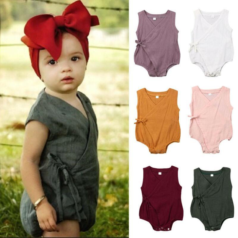 0-18M miúdo recém-nascido do bebé Macacão Roupas para o Verão Cotton bowknot Romper Casual Plain Outfits Infantil roupa traje