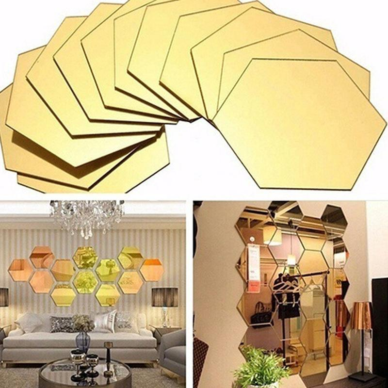 12p جيم منتظم السداسي العسل ديكور 3D مرآة ملصقات الحائط غرفة المعيشة غرفة نوم ملصقات ديكور المنزل ديكور غرفة