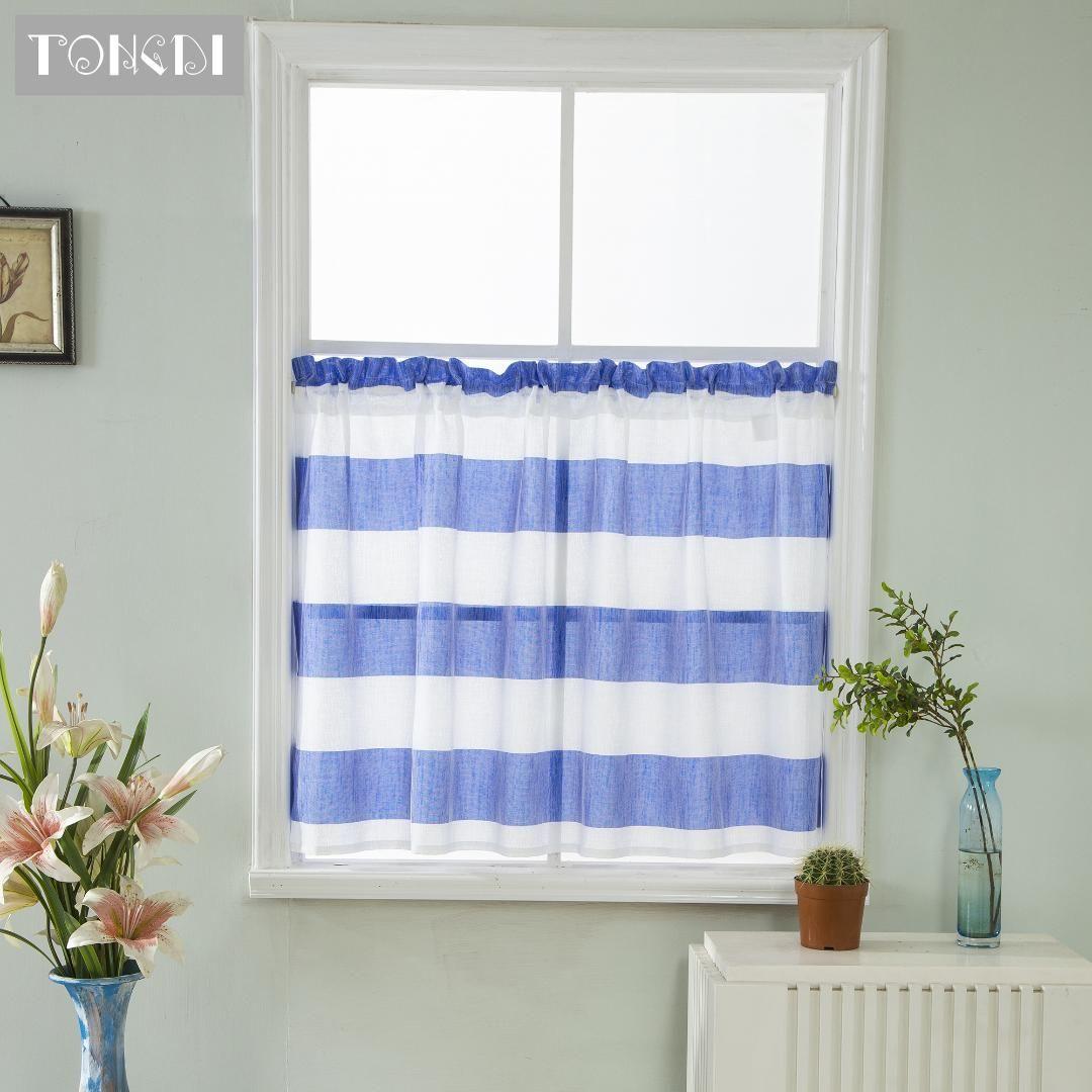 TONGDI rayada Pastoral casa cocina cortina de ventana Valance Niveles Sheer para la cocina Cafe Comedor Tul cortina romana