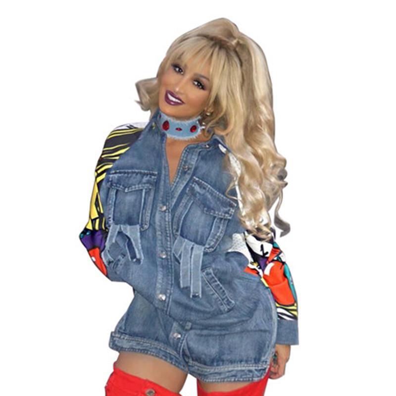 2017 Fashion Vintage Long Denim Jacket Long Sleeve Square Collar Print Women Casual Veste Dashiki Cape Femenino