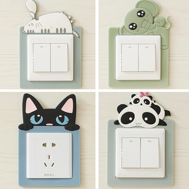 500 pieces Hot home decoration high quality direct card buckle-free cartoon soft glue night light switch socket decorative sleeve