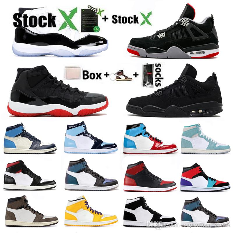 Jumpman 4 4s Black Cat Basketball Shoes 1 1s High Court Black White Men Women Designer Sneakers 11 11s Bred Concord 45 Trainers