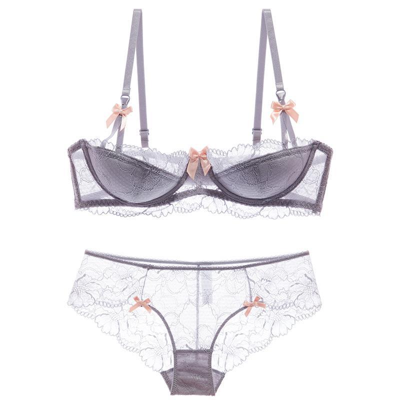 shaonvmeiwu Le soutien-gorge en lingerie en dentelle sexy avec dentelle et inserts de coussins en coton réunit un grand soutien-gorge
