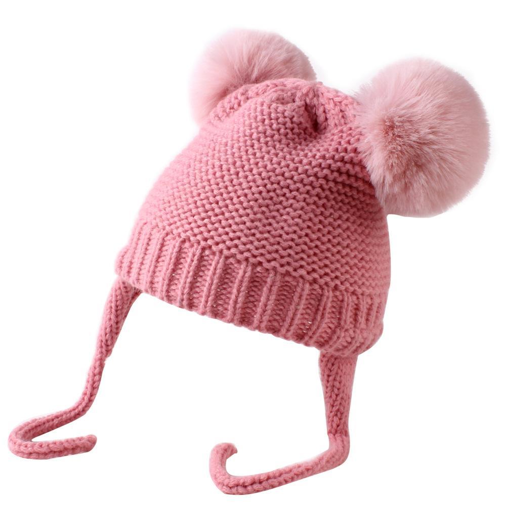 Punto bebé del sombrero del invierno con los oídos de dibujos animados con cordones casquillo de los niños del capo del bebé de los niños para niños de 5 colores ALE434