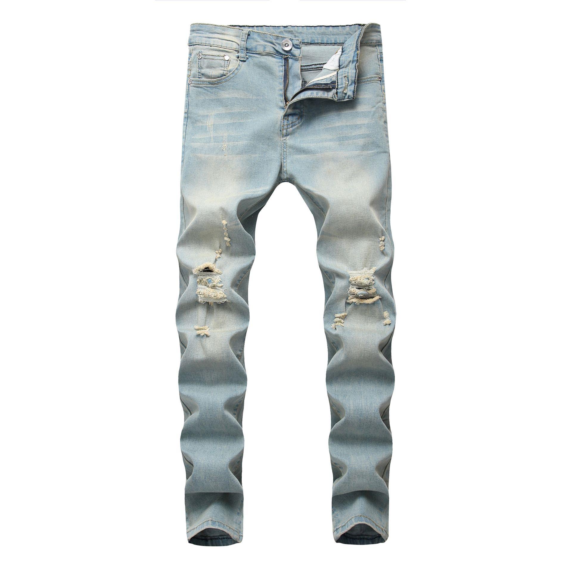 Mens Jeans Pencil Jeans Men Denim alta cintura elástica Desgastado Calças Fora Slim Fit neve azul pálido bolso Zipperd longas