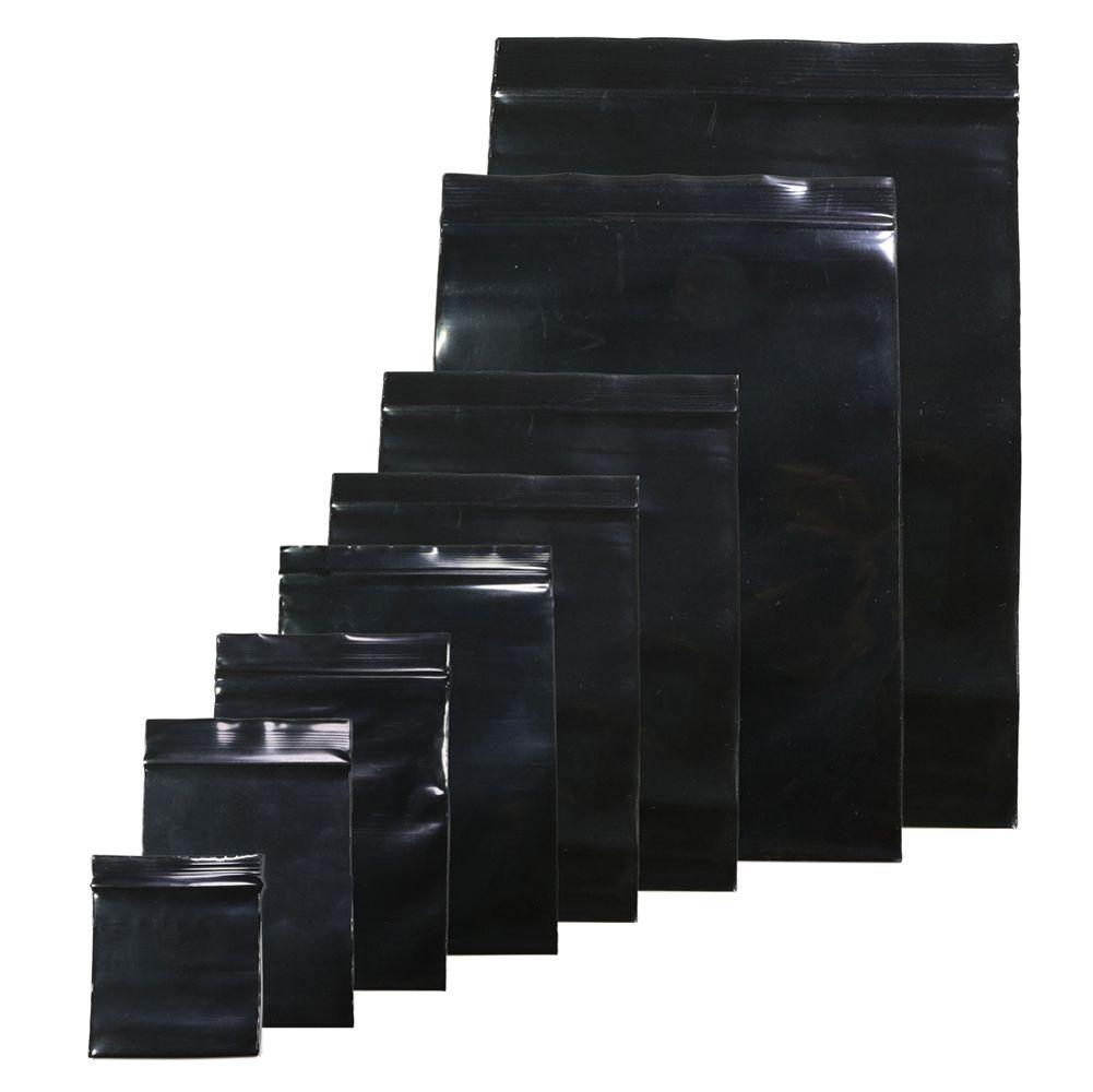 100pcs úteis / lote Negro Cor Auto vedação sacos de plástico, ziplock sacos de polietileno com zíper sacos zip sacos de armazenamento de bloqueio