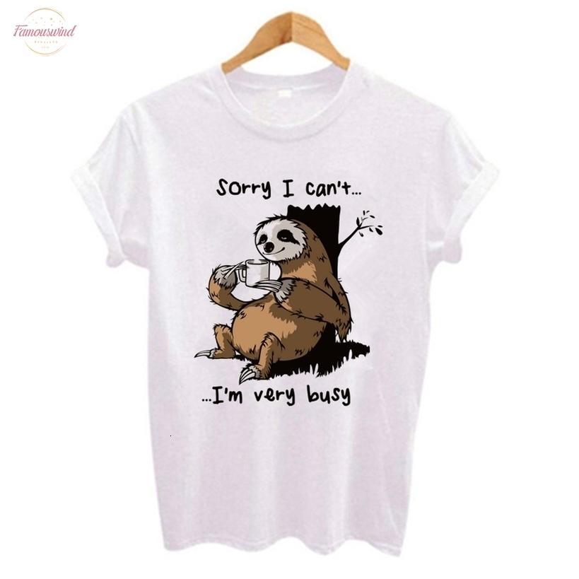 Cartoon Sloth-Druck-Frauen-T-Shirt Polyester beiläufige Kurzarmshirts T weibliche Kleidung nette Art Tumblr Tshirts Camiseta Mujer