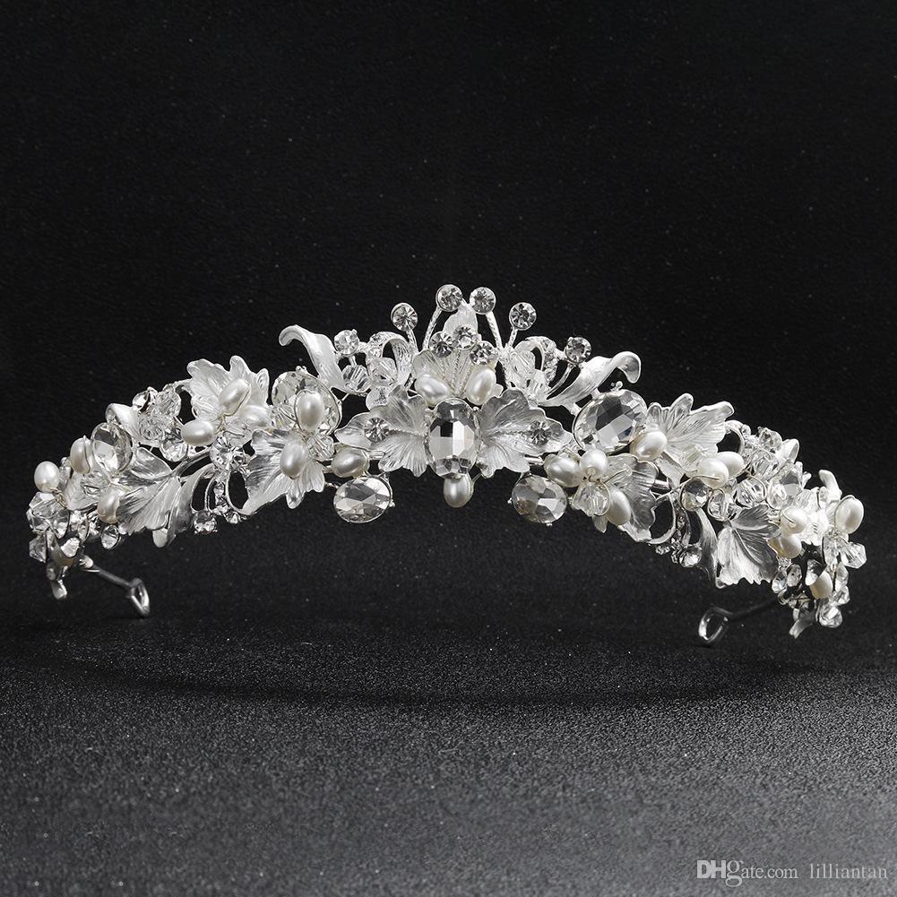 Abend-Partei-Zubehör Marke Silber Handmade New Braut Hochzeit Kristall Strass Haar-Stirnband Kopfschmuck Crown Tiara Prom Pageant