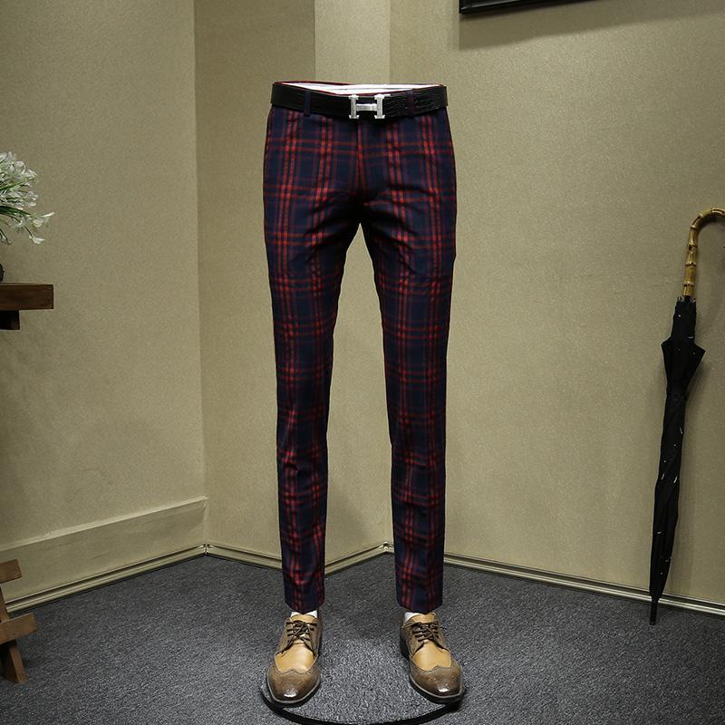 Compre Pantalones De Vestir Para Hombre Rojo De La Boda El Novio Desgaste Delgado Del Ajuste De La Oficina Pantalones De Tela Escocesa De Los Hombres Pantalones De Hombre De Negocios De