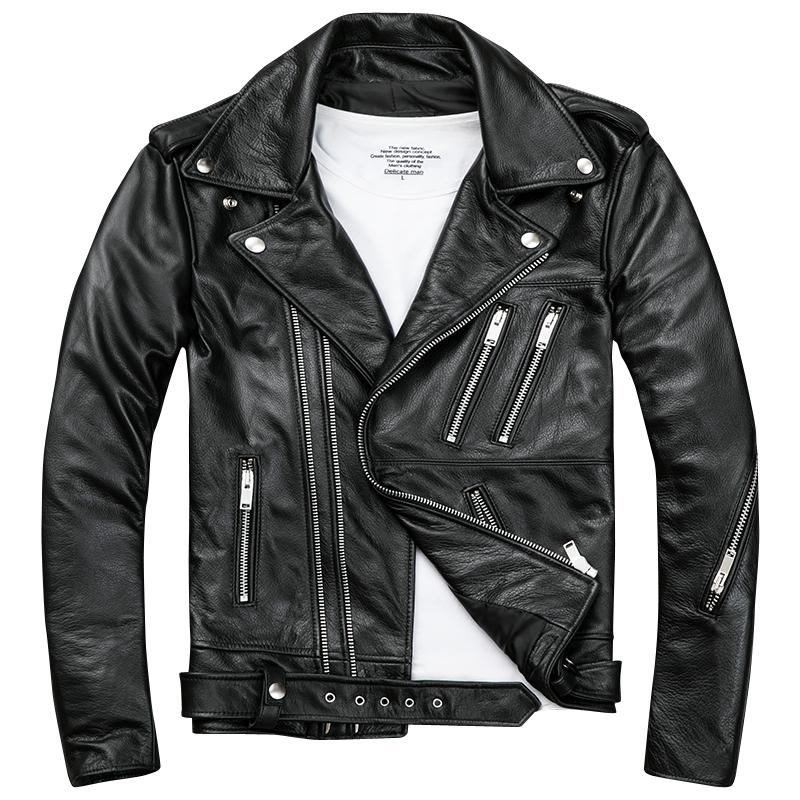 In Leather We Trust Mens Genuine Leather Max Hooded Jacket