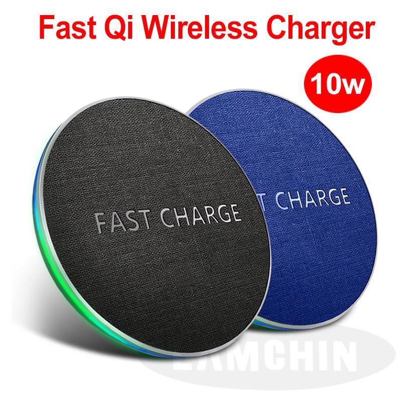 10Вт Ци Быстрый беспроводной ткани Зарядные устройства для iPhone 8 X XR XS Max Samsung S9 S8 Примечание 8 9 S7