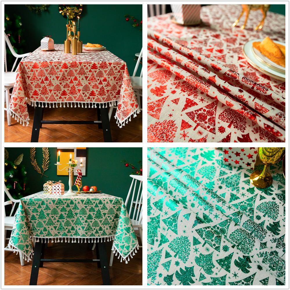 Pano de tabela com Tassel Vermelho e linho Árvore de Natal Lantejoula Verde algodão imprimir capas de mesa de alta qualidade com tamanhos diferentes