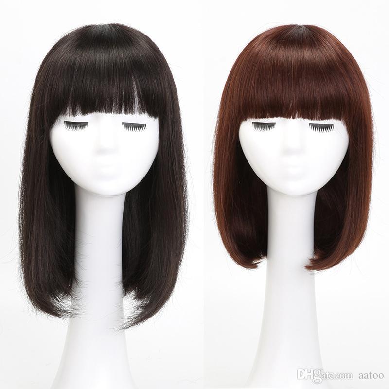 armadura del pelo humano Mujeres mitad de la longitud del pelo recto BOBO cabeza llena humana 35CM 40CM para las mujeres negras