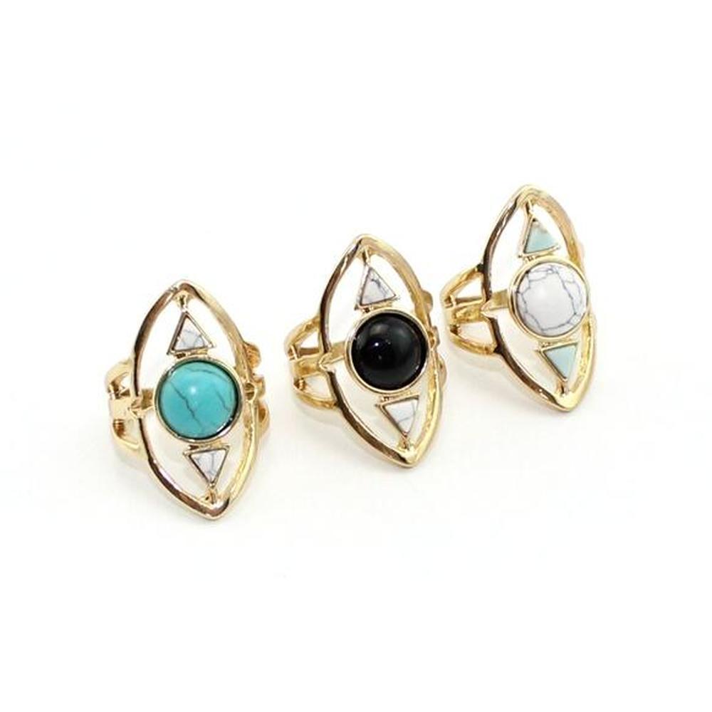 حلقة تركواز زرقاء موضة للنساء مجوهرات مثلث ذهبي هندسة حجري طبيعية Oval Kallaite Howlite الحلقة السوداء