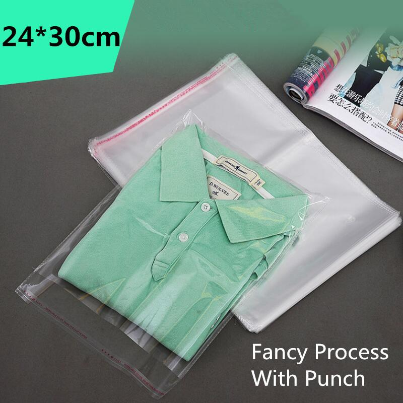 Lbsisi Life 100pcs 24*30cm Clear Self Adhesive Resealable Opp Poly Cello Cellophane Clothing Bag Transparent Plastic Packing C19022701