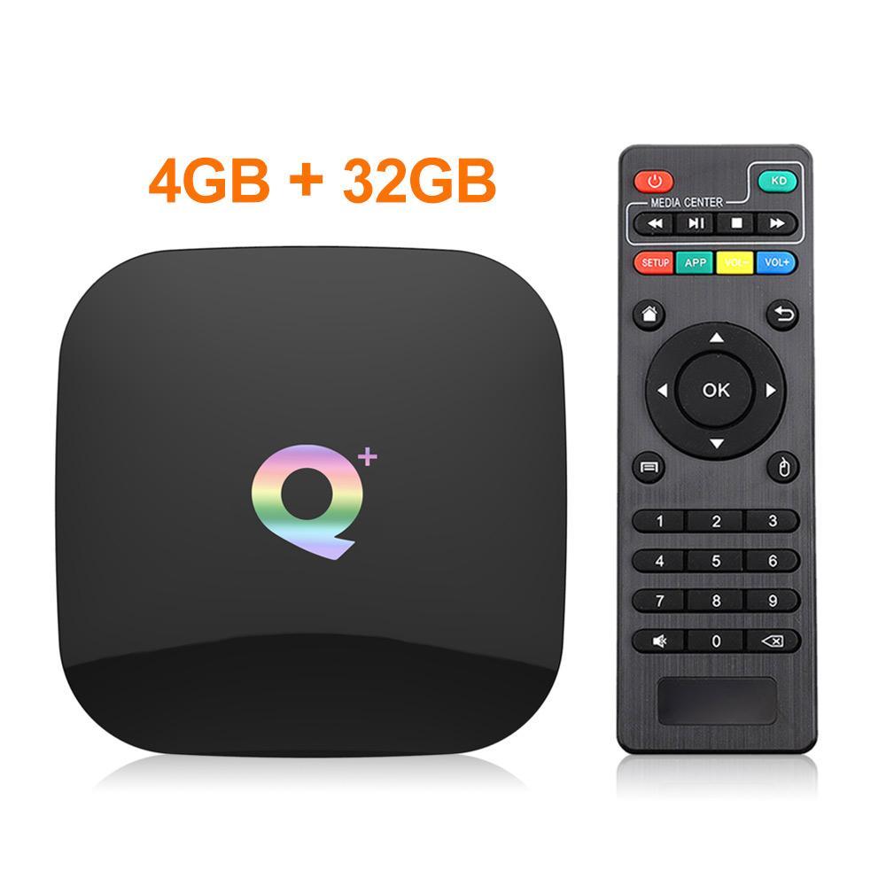 Q Artı Akıllı TV Kutusu Android 9.0 TV Kutusu 4 GB RAM 32 GB / 64G ROM Dört Çekirdekli H.265 USB3.0 2.4G WIFI Set üstü Kutu 4 K TVBOX PK H96 / X96 Max