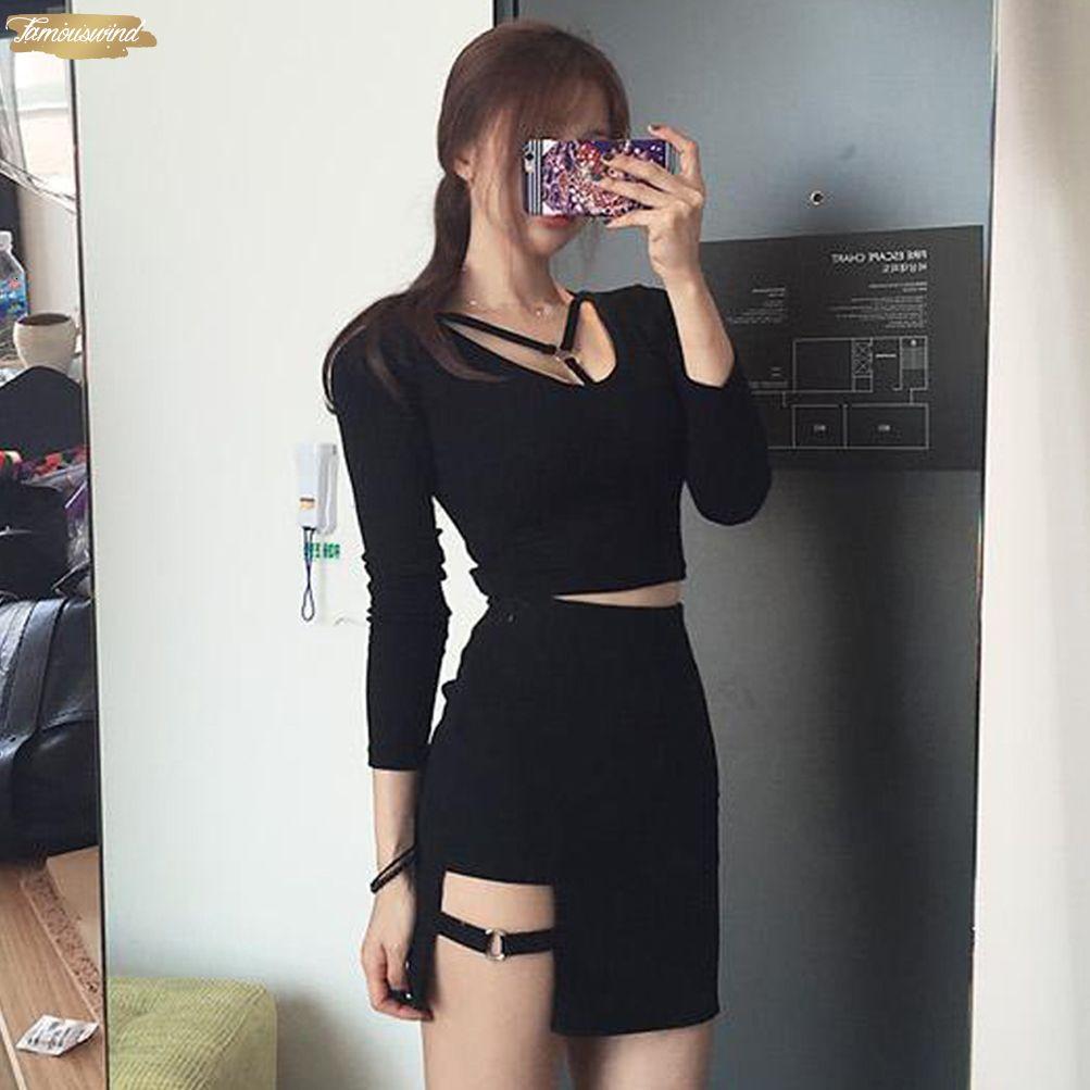 Irregular Dress Women Cotton Pencil Bandage Sexy Black L Short S 3 4 Sleeve M Bodycon Drop Shipping Designer Clothes