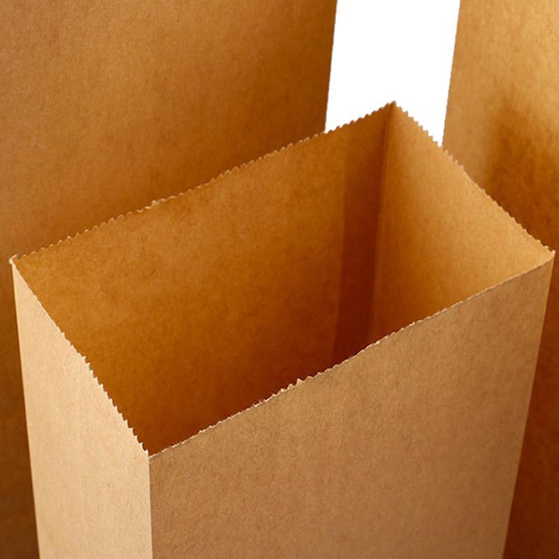 100Pcs Kraft Paper Bag Gift Bag Candy Biscuit Bread Nut Bag Biscuit Snack Baking Packaging Supplies