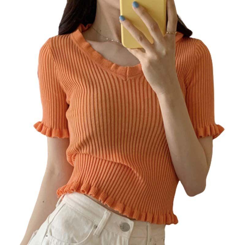 Лето новых женщин Элегантный коротким рукавом трикотажные футболки Женщины Sexy Топы V шеи Плиссированные Край