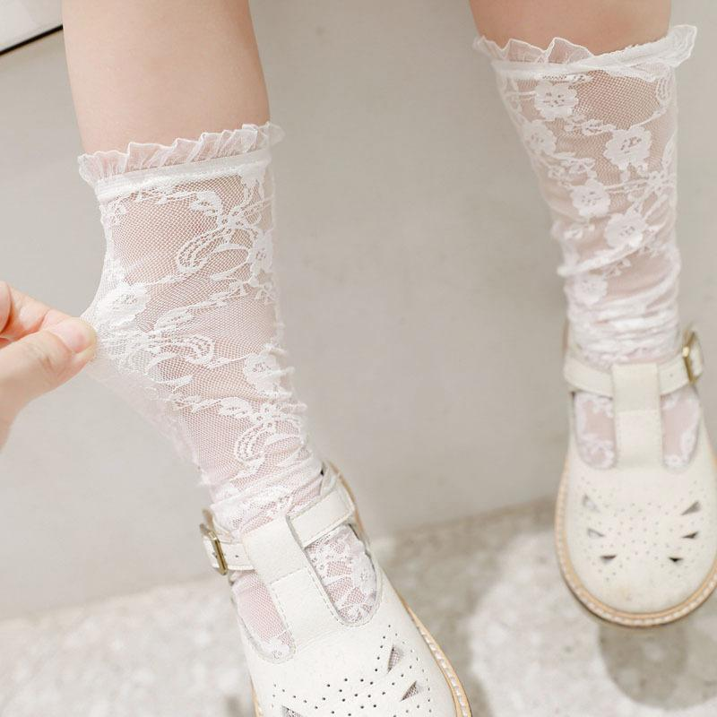 Yaz bebek kız işlemeli çorap çocuk diz yüksek çorap çocuklar fırfır çorap A31080000 dantel dantel