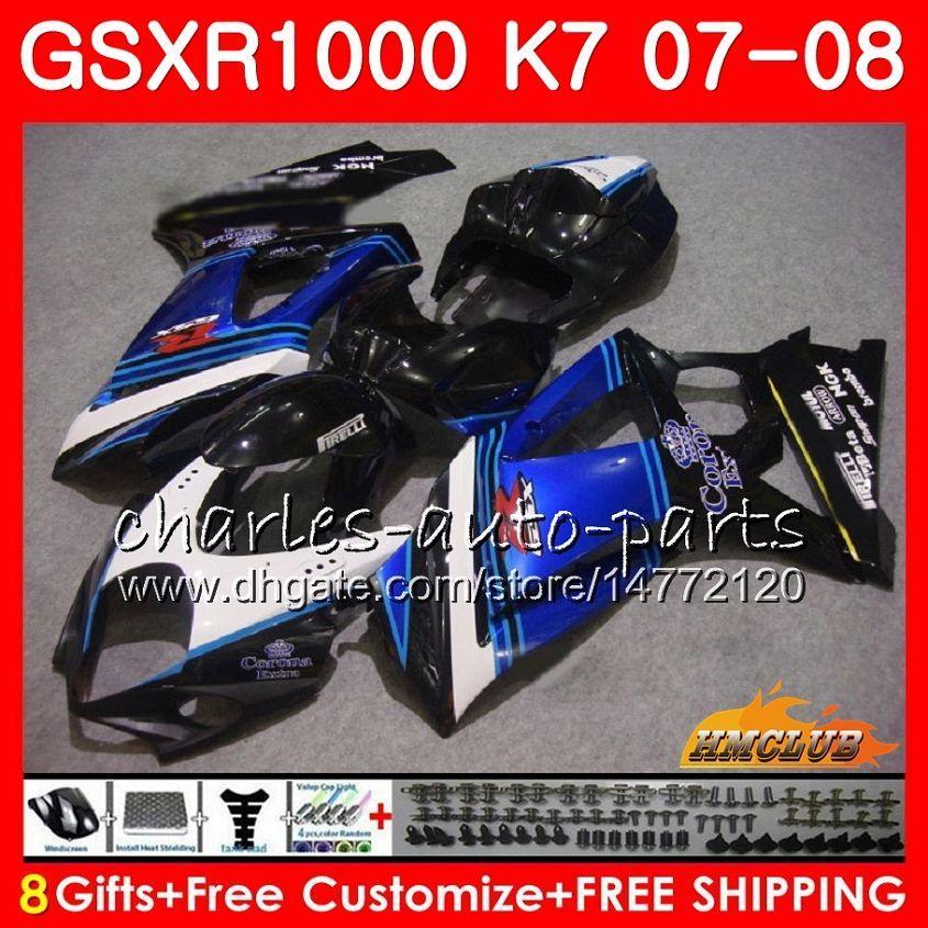 Suzuki GSXR-1000 GSXR1000 2008 2008 년 07 08 Bodys 12HC.62 GSX R1000 GSX-R1000 K7 GSXR 1000 07 08 ABS 페어링 키트 블루 블랙 핫