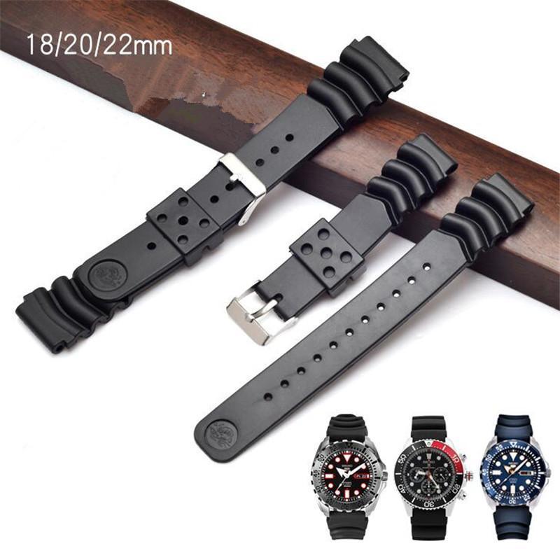Nouveau Silicone Rubber Bracelet Convex bouche noire Bracelet Ardillon 18 20 22mm pour KINETIC SKA293J2 SKA291J1 SKX007 Montre