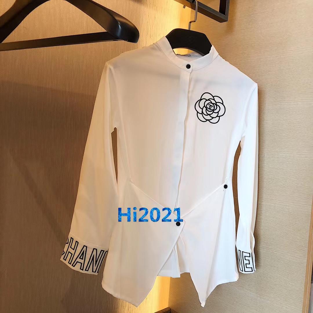 하이 엔드 여성 여자 셔츠 함께 공격을 넣어 색 꽃 알파벳 패턴 인쇄 긴 소매 티 블라우스 패션 디자인 고급 T 셔츠 탑스