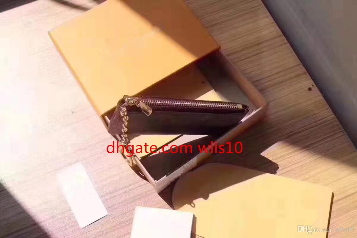LB04 with Orange Box KEY POUCH Real leather holds 100% Leather famous classical designer women key holder coin purse small leather goods bag
