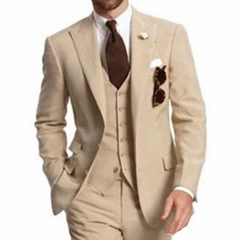 2020 pedaço Bege Partido de três Negócios melhores homens ternos repicado lapela dois botões Custom Made casamento do noivo Smoking Jacket Pants Vest