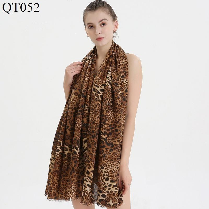Leopard Print Scarf Shawl Satin Face Cotton Leopard Point Keep Warm Shawl