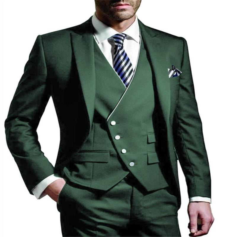 Biçimsel Düğün için Erkekler Suit Dar Kesim Casual 3 adet İş Groomsmen Gri Yeşil şampanya LAPEL Smokin (Blazer + Yelek + Pantolon)