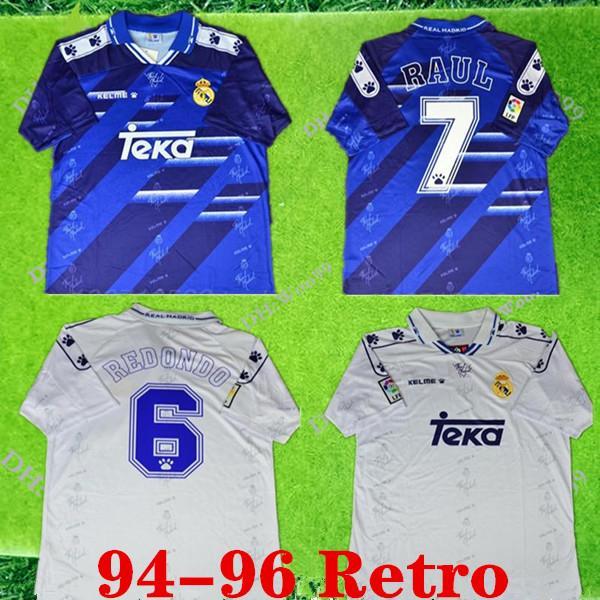 레알 마드리드 1994-1996 라울 레트로 축구 저지 Zamorano 축구 셔츠 95 (96) 레알 마드리드 레돈도 셔츠 빈티지 Camiseta 드 푸 웃