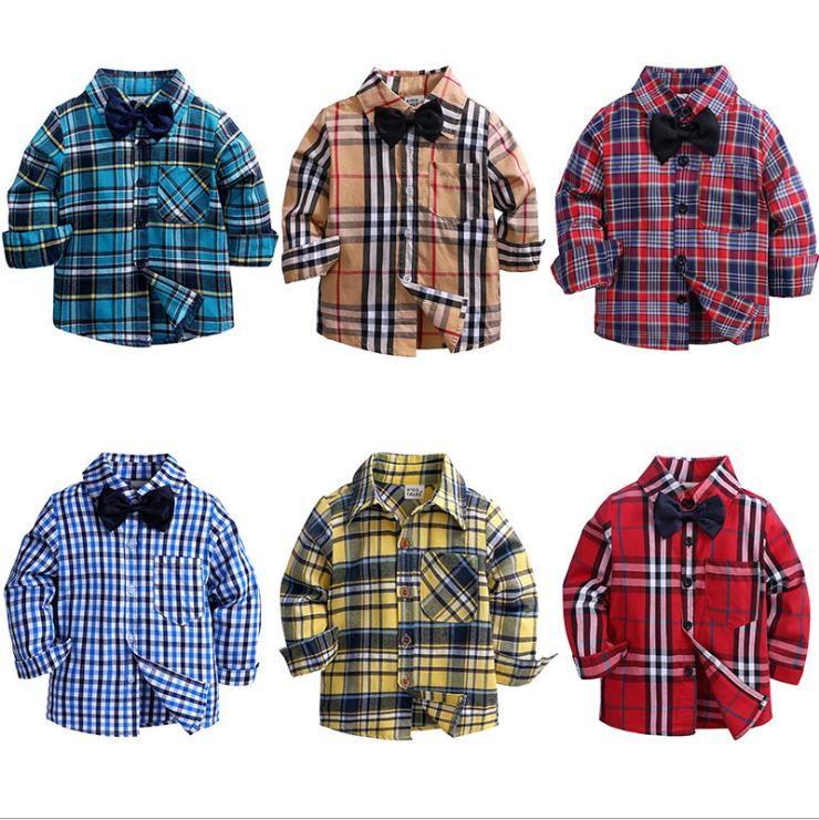 Botones muchachos del niño camisas de tela escocesa cabrito muchacha de los muchachos de manga larga del bolsillo de la camisa Tops gira el collar abajo de la blusa casual