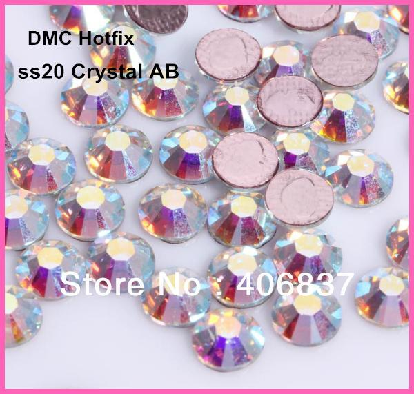 Free Shipping! 1440pcs/Lot, ss20 (4.8-5.0mm) High Quality DMC Crystal AB Iron On Crystals / Hot Fix Rhinestones
