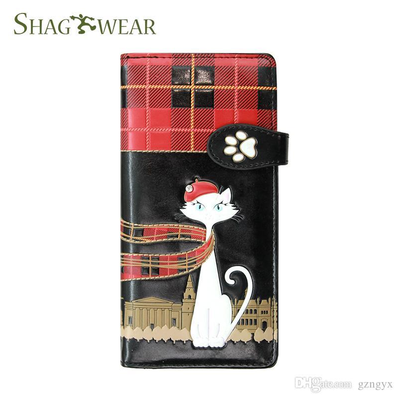 Shag Wear Fashion Cat Design Pattern Long Wallet Designer Luxury Handbag Wallet Purse With Coin Pocket Card Holder Money Slot Customized