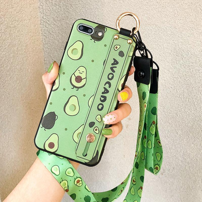 Titolare della cassa del telefono per l'iphone XR X Xs max 11 Pro Max 7 8 6 6s più frutta Casi di cinghia da Avocado TPU collo polso