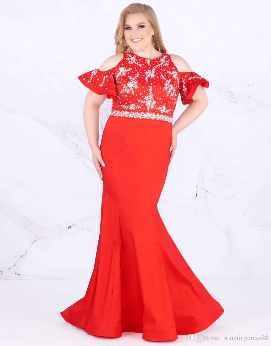 Stunning Red Plus Size Prom Dress Evening Gowns 2019 Long Cold Shoulder  Bling Sparkly Crystal Beaded Plus Size Special Occasion Dresses Plus Size  ...